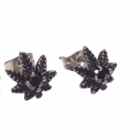 Hash Leaf Surgical Steel Ear Studs Earrings - Pair