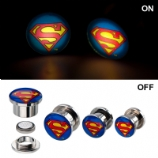 Light Up Superman Logo Official Licensed Plugs 8mm - 12mm (Pair)