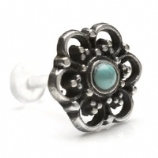 Sterling Silver Ornate Turquoise Bead Design Push-Fit Flexi Micro Labret