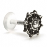 Sterling Silver Ornate Floral Bead Design Push-Fit Flexi Micro Labret