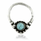 Turquoise Forward Facing Cluster Sterling Silver Seam Ring 1mm
