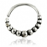 Graduated Bead Sterling Silver Seam Ring