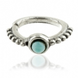 Turquoise Side Facing Sterling Silver Seam Ring for Rook / Tragus / Helix Piercing