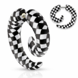 Chequered Print Acrylic Fake Spiral