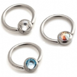 Flat Gem Disk Titanium Ball Closure Ring - 1.2mm