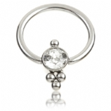Small Crystal Cluster Titanium Ball Closure Ring - 1.2mm