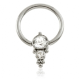Double Crystal Cluster Titanium Ball Closure Ring - 1.2mm
