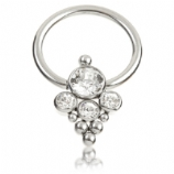 Large Crystal Cluster Titanium Ball Closure Ring - 1.2mm