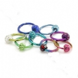 Crystal Discoball Resin Glitter Ball Titanium Closure Ring 1.2mm