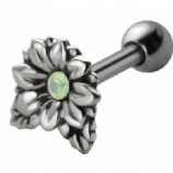Flower and Leaves Sterling Silver Tragus / Helix Bar