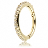 14ct Yellow Gold Crystal Lined Eternity Hinged Ring Clicker