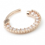 14ct Rose Gold Crystal Pave Surround Hinged Ring Clicker