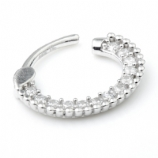 14ct White Gold Crystal Pave Surround Hinged Ring Clicker