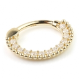 14ct Yellow Gold Crystal Pave Surround Hinged Ring Clicker