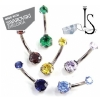 Swarovski Crystal Titanium 3 Prong Set Curved Barbell - Gem Top Ball - Industrial Strength