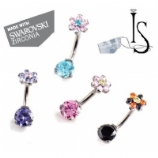 Swarovski Crystal Titanium 3 Prong Set Curved Barbell - Flower Top - Industrial Strength