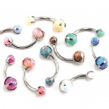 Faux-Pal Synthetic Opal Titanium Curved Barbell - Industrial Strength