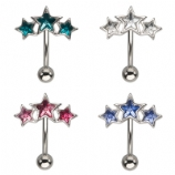 Triple Crystal Star Curve Reverse Belly Bar