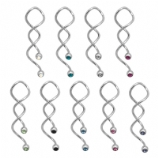 Double Gem Crystal Mega Twister Belly Ring Spiral