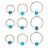 Turquoise Stone Ball Closure Ring - 1.2mm