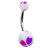 Colourful Hearts Belly Piercing Bar