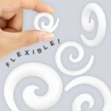 White Silicone Flexi Ear Hook Spiral 3mm - 12mm