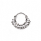 Layered Crystal Surgical Steel Septum Clicker Hinged Ring