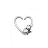 Baby Elephant Heart Surgical Steel Seam Ring 1.2mm