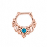 Turquoise Stone Rose Gold Swirl Surgical Steel Septum Clicker Hinged Ring