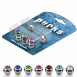 Crystal Gem Balls Novelty Tongue Bar Value Pack - One Of Each Colour