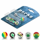 Rasta / Hash Leaf Tongue Stud Value Pack