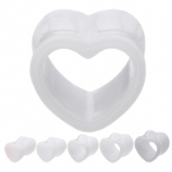 White Heart Flared Acrylic Tunnel 8mm-16mm