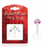 Square Crystal Push-Fit Flexi Lip Stud 1.2mm - Value Pack - Five Colours