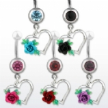 Open Heart & Rose Crystal Dangle Belly Bar