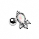Opal and Crystal Cluster Tragus / Helix Bar