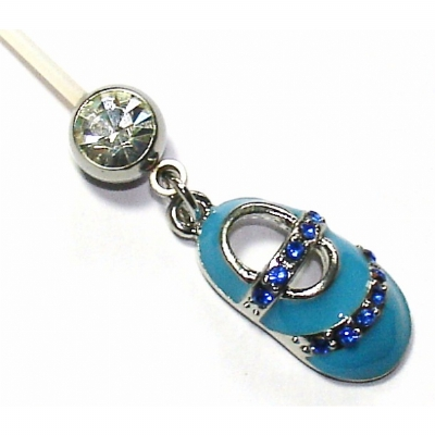 Blue Baby Shoe Pregnancy Belly Bar