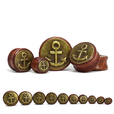 Anchor Button Brass Front Red Wood Flesh Plug 12mm - 30mm