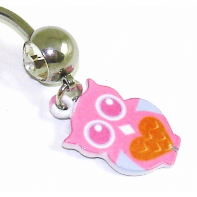 Pink Owl Dangle Belly Bar