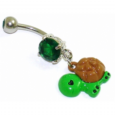 Cute Green Turtle Dangle Belly Bar