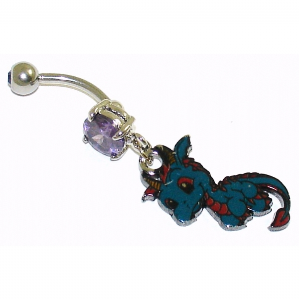 quite nice choose genuine modern style Cute Little Blue Dragon Dangle Belly Bar