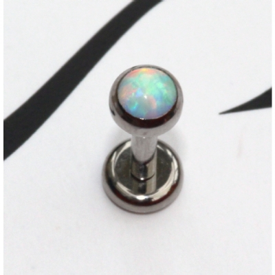 IN STOCK - Industrial Strength Bezel Set Fauxpal Labret Stud - White Opal