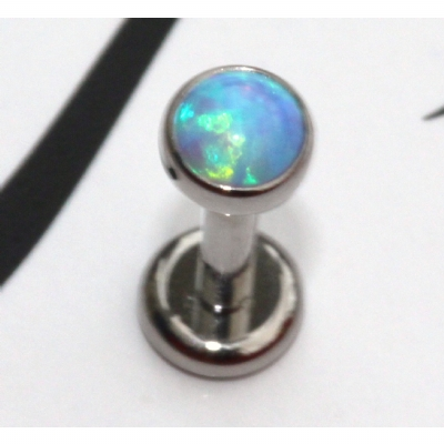 IN STOCK - Industrial Strength Bezel Set Fauxpal Labret Stud - Sky Blue Opal