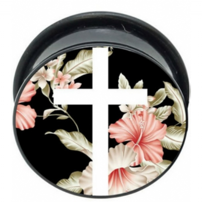 Cross and Flowers Plug 6mm - 25mm