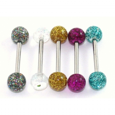 New Style Super Glitter Titanium Tongue Bar