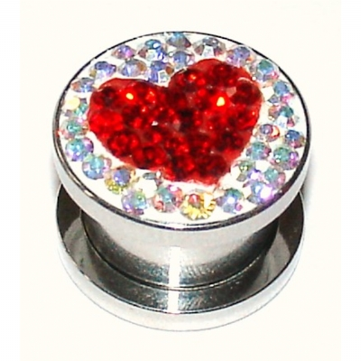 Heart Logo Crystal Encrusted Surgical Steel Screw On Flesh Plug