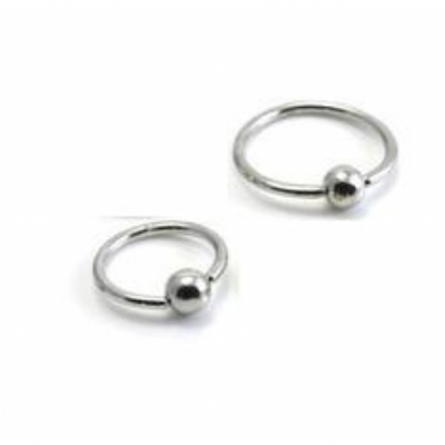 Solid 9ct White Gold Ball Closure Ring - 1.6mm x 10mm