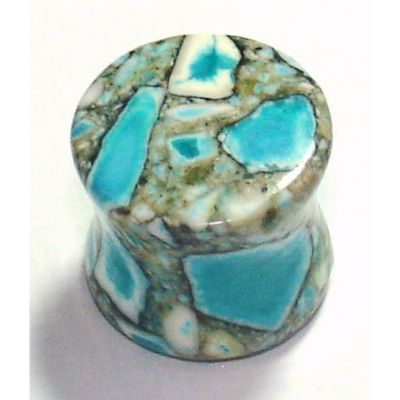 Blue / Turquoise Crazy Agate Stone Saddle Plug 3mm - 12mm