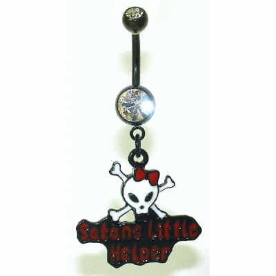 'Satan's Little Helper' Skull & Bones Dangle Belly Bar