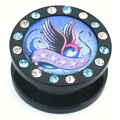 Swallow Picture Crystal Acrylic Screw On Flesh Plug 6mm - 16mm