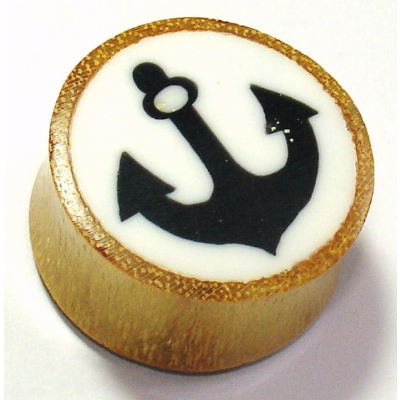 Anchor Picture Inlay Organic Wood Ear Plug 6mm - 25mm
